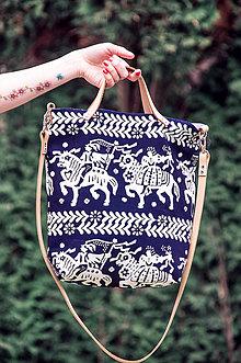 Veľké tašky - Modrotlačová taška - 9353691_