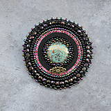 Odznaky/Brošne - Black&turquoise- vyšívaná brož - 9354260_