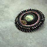 Odznaky/Brošne - Black&turquoise- vyšívaná brož - 9354263_