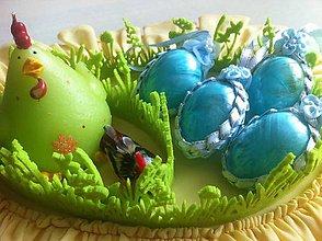 Dekorácie - Veľkonočné vajíčko pierkové - tyrkysové - 9354385_