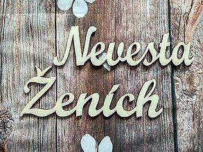 Dekorácie - Nevesta / Ženích - drevené výrezy - cca 20cm - 9352361_