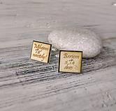 Šperky - Manžetové gombíky s textom (hranaté - vlastný text) - 9354665_