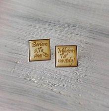 Šperky - Manžetové gombíky s textom živicové (hranaté - strieborné) - 9354546_