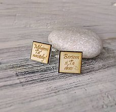 Šperky - Manžetové gombíky s textom živicové (hranaté - vlastný text) - 9354665_