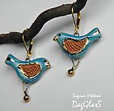 keramické náušnice  - vtáčiky s hrdzavým krídelkom-