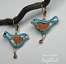 Náušnice - keramické náušnice  - vtáčiky s hrdzavým krídelkom- - 9354062_