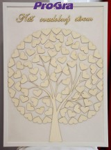 Svadobný obraz - srdiečkový strom s vtáčikmi (40 x 50 cm)