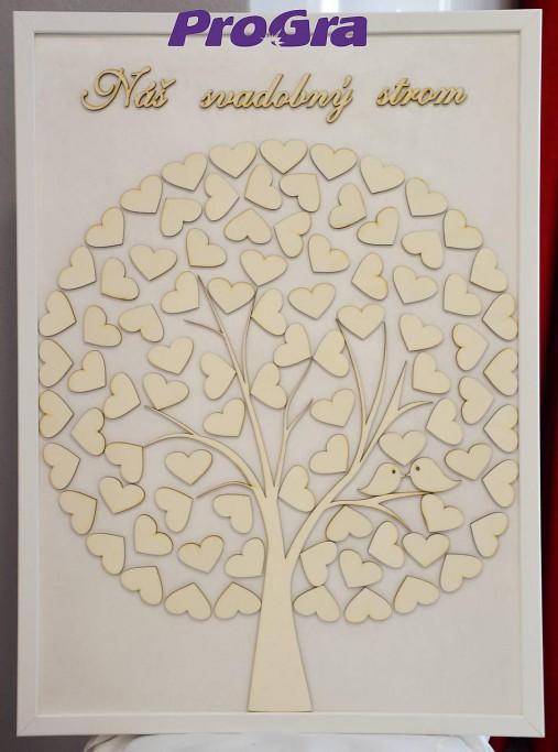 Svadobný obraz - srdiečkový strom s vtáčikmi