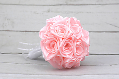Kytice pre nevestu - Saténová kytica svadobná bledoružová ruže - 9352934_