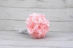 Kytice pre nevestu - Saténová kytica svadobná bledoružová ruže - 9352935_