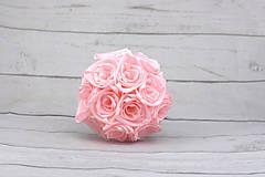 Kytice pre nevestu - Saténová kytica svadobná bledoružová ruže - 9352936_