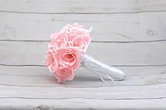 Kytice pre nevestu - Saténová kytica svadobná bledoružová ruže - 9352945_