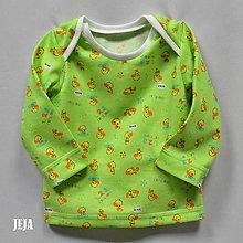 Detské oblečenie - Žltozelené tričko s kačičkami - 9355335_