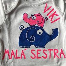 Detské oblečenie - Maľované detské tričko so sloníkmi (Pre malú sestru/brata (body)) - 9353190_
