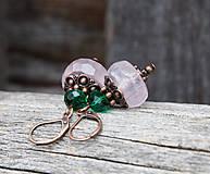 - Ruženín so smaragdovou - náušnice - 9354543_