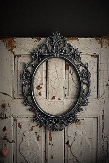Rámiky - Barokový rám so striebornou patinou (Čierna) - 9352104_