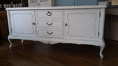 Nábytok - Veľká biela komoda s patinou - predaná - 9353299_