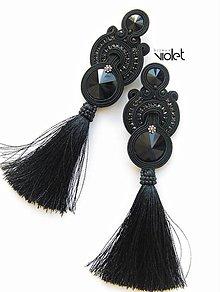 Náušnice - Black tassel - 9358297_