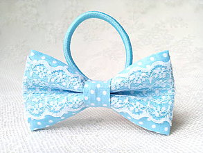 Ozdoby do vlasov - Folklore hair bow (baby blue/small white dots) - 9358745_