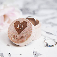 Prstene - Mini krabička na obrúčky (Srdiečko s dátumom) - 9357044_