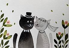 - Svadobná ilustrácia pohľadnica  / originál maľba  - 9355770_