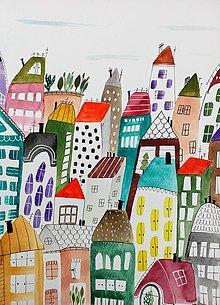 Obrazy - Mesto 36 ilustrácia  / originál maľba  - 9355764_
