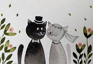 Papiernictvo - Svadobná ilustrácia pohľadnica  / originál maľba  - 9355770_