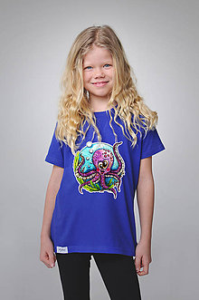 Detské oblečenie - Detské tričko - Chobotnička Milka (110-146 - Modrá) - 9356214_