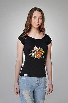 Tričká - Dámske tričko - líška (S - XL - Čierna) - 9357211_