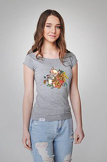 Tričká - Dámske tričko - líška (S - XL - Šedá) - 9357212_
