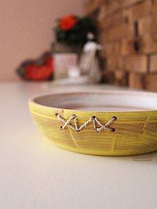 Nádoby - Buková miska žltá prešívaná - 9358094_