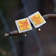 Náušnice - Náušnice Klipsne Žlté kvietky - 9357564_