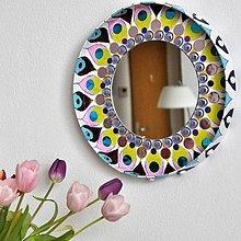 Zrkadlá - Kruhové zrkadlo Mandala fialová AKCIA !!! - 9357685_