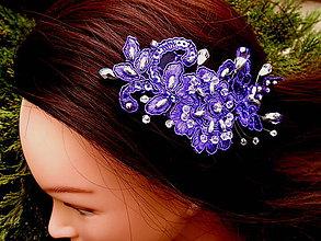 Ozdoby do vlasov - sponka - fialová čipka + strieborná - 9356353_