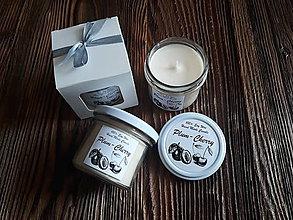 Svietidlá a sviečky - Sviečka zo 100% sójového vosku v skle - Višňa&Slivka - Darčeková krabička - 9356095_