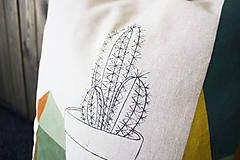 Úžitkový textil - Ručne maľovaná obliečka na vankúš PRALA kaktus - 9359702_