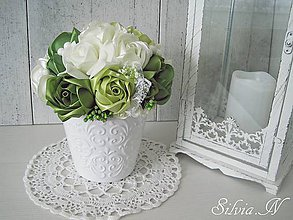Dekorácie - Saténové ruže v keramickom kvetináči :) - 9356443_