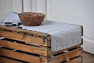 Úžitkový textil - ľanová štóla (svetlosivá) - 9357844_