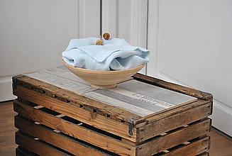 Úžitkový textil - ľanové plátno na chlieb (belasé) - 9357871_