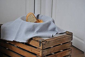Úžitkový textil - ľanové plátno na chlieb (svetlosivé) - 9357907_