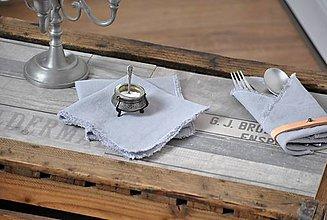 Úžitkový textil - ľanový obrúsok/vreckovka (svetlosivý) - 9358032_
