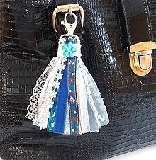Kľúčenky - Stuhový strapec na kabelku, kočík, kľúčenku...... - 9356750_