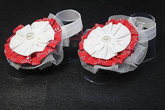 Topánočky - Baby sandálky / čelenka na nožičky Evi -E9 - 9359772_