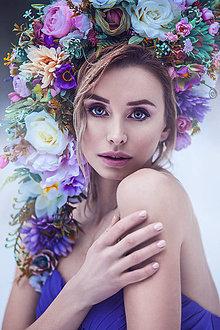 Ozdoby do vlasov - Veľká, rozprávková kvetinová koruna - 9359575_