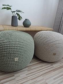 Úžitkový textil - Háčkovaný puf - olivový - 9356601_