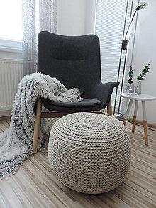 Úžitkový textil - Háčkovaný puf - béžový - 9356631_