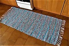 Úžitkový textil - Tkaný koberec sivo-tyrkysový - 9355944_