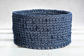 Košíky - Košik s dreveným základom (Rifľový) - 9362455_
