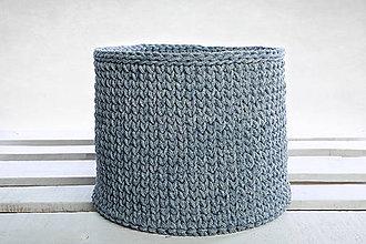 Košíky - Košik s dreveným základom (Denim) - 9362540_