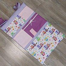 Textil - Vreckár-Ružová sova na fialovo - 9360019_